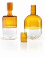 parisevetro - bottiglia bicolor vetro soffiato borosilicato fatta a mano
